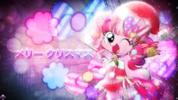 Size: 1920x1080 | Tagged: safe, artist:kibbiethegreat, artist:momo, pinkie pie, pony, bipedal, christmas, cute, diapinkes, female, happy, japanese, solo, wallpaper