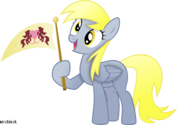 Size: 4012x2836 | Tagged: artist:mrcbleck, derpy hooves, derpy's flag, rainbow falls, safe, solo, spoiler:s04e10, the grey one's glorious return