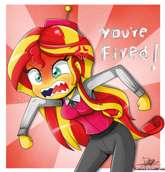 Size: 787x822   Tagged: safe, artist:the-butch-x, sunset shimmer, equestria girls, angry, benson, cross-popping veins, female, parody, rage, rageset shimmer, regular show, solo, sunburst background, that pony sure have anger issues, you're fired