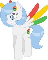 Size: 2797x3529 | Tagged: safe, artist:he4rtofcourage, oc, oc only, oc:google chrome, pegasus, pony, browser ponies, google chrome, ponified, solo