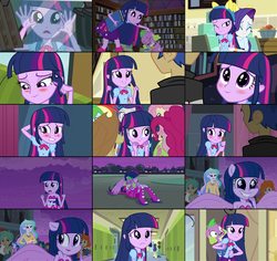 Size: 964x910 | Tagged: safe, screencap, applejack, flash sentry, fluttershy, pinkie pie, rainbow dash, rarity, spike, twilight sparkle, dog, equestria girls, equestria girls (movie), adorkable, backpack, blushing, book, boots, clothes, collage, cute, dork, dress, fall formal outfits, high heel boots, mane six, ponied up, skirt, spike the dog, twiabetes, twilight ball dress, wings