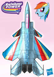 Size: 1000x1440 | Tagged: dead source, safe, artist:pak-faace1234, color edit, rainbow dash, airplane dash, f-15s+, jet, jet fighter, open mouth, plane, pony coloring, rainbow power, rainbow power-ified, smiling