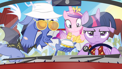 Size: 1600x900 | Tagged: safe, artist:pixelkitties, discord, princess cadance, twilight sparkle, alicorn, draconequus, pony, three's a crowd, blue flu, car, clothes, driving, drugs, fear and loathing in las vegas, female, flashback potion, mare, parody, riding, sisters-in-law, twilight sparkle (alicorn), unamused, wallpaper