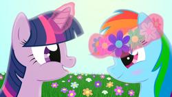 Size: 5300x3000 | Tagged: safe, artist:galekz, rainbow dash, twilight sparkle, absurd resolution, female, flower, lesbian, magic, shipping, twidash