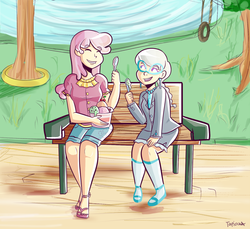 Size: 1000x914 | Tagged: safe, artist:php52, cheerilee, silver spoon, human, bench, cheerispoon, food, glasses, humanized, ice cream, light skin, park, sitting
