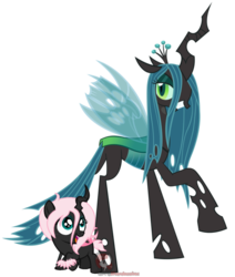 Size: 578x681 | Tagged: artist:ipandacakes, changeling, changeling oc, grin, hybrid, interspecies offspring, looking at you, looking up, magical lesbian spawn, mommy chrissy, mother and child, oc, oc:pomf puff, offspring, open mouth, parent:oc:fluffle puff, parent:queen chrysalis, parents:canon x oc, parents:chrysipuff, pink changeling, queen chrysalis, raised hoof, safe, simple background, smiling, smirk, standing, transparent background, vector