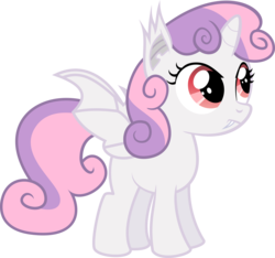 Size: 5000x4673 | Tagged: safe, artist:apony4u, sweetie belle, alicorn, bat pony, bat pony alicorn, pony, absurd resolution, bat ponified, cute, female, filly, foal, race swap, simple background, solo, sweetie bat, sweetiecorn, transparent background, vector, xk-class end-of-the-world scenario