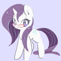 Size: 1000x1000 | Tagged: safe, artist:clockworkquartet, rarity, pony, unicorn, alternate hairstyle, cute, female, glasses, gray background, mare, raribetes, simple background, solo