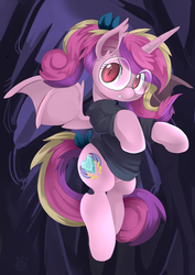 Size: 650x919 | Tagged: safe, artist:ende26, princess cadance, bat pony, pony, bat ponified, clothes, fangs, glasses, looking at you, lovebat, race swap, smiling, solo, spread wings, sweater