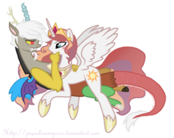 Size: 900x714 | Tagged: safe, artist:jaquelindreamz, discord, helia, princess celestia, alicorn, draconequus, pony, bedroom eyes, blushing, caos, cuddling, dislestia, eris, eye contact, female, grin, heart, hug, male, prince solaris, princess helia, rule 63, rule 63'd rule 63, shipping, simple background, smirk, snuggling, spread wings, straight, transparent background, we need to go deeper