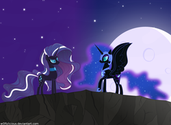 Size: 1024x747 | Tagged: safe, artist:w0lfylicious, nightmare moon, nightmare rarity, antagonist, dance of the nightmares, duality, moon, night, self ponidox, stars, time paradox
