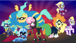 Size: 2502x1412 | Tagged: artist:punzil504, carrot top, cheerilee, clothes, costume, derpy hooves, dinkycorn, dinky hooves, fili-second, golden harvest, humdrum, luna six, lunaverse, lyra heartstrings, masked matter-horn, mistress marevelous, power ponies, race swap, radiance, saddle rager, safe, sunshower raindrops, trixie, zapp