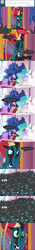 Size: 650x4625 | Tagged: safe, artist:mixermike622, princess celestia, princess luna, queen chrysalis, twilight sparkle, oc, oc:fluffle puff, alicorn, changeling, pony, tumblr:ask fluffle puff, ask, book, cake, cakelestia, comic, coup, eating, eyes closed, female, food, magic, mare, new crown, not cool, reading, tumblr, twilight sparkle (alicorn)