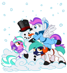 Size: 840x920 | Tagged: safe, artist:nanook123, oc, oc only, oc:blank canvas, oc:hoof beatz, oc:mane event, bronycon mascots, carrot, earmuffs, hat, hoofevent, snow, snowfall, snowman, top hat, winter, winter outfit