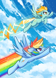 Size: 569x800 | Tagged: artist:jopiter, duo, female, flying, lightning dust, mare, pegasus, pony, rainbow dash, rainbow trail, safe, sky, speed trail, trail