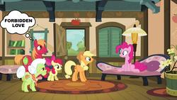 Size: 1000x563 | Tagged: safe, apple bloom, applejack, big macintosh, granny smith, pinkie pie, earth pony, pony, pinkie apple pie, incestuish, male, pinkiemac, shipping, stallion, straight