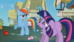 Size: 1366x768 | Tagged: safe, screencap, rainbow dash, twilight sparkle, swarm of the century, apple, great moments in animation