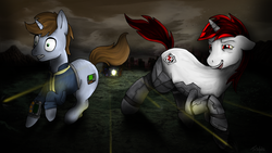Size: 1024x576 | Tagged: safe, artist:teschke, oc, oc only, oc:blackjack, oc:littlepip, cyborg, pony, unicorn, fallout equestria, fallout equestria: project horizons, augmented, clothes, cloud, cloudy, cutie mark, cyber legs, drunk, fanfic, fanfic art, female, floppy ears, gritted teeth, hooves, horn, mare, open mouth, pipbuck, road, ruins, running, shooting, vault suit, wasteland