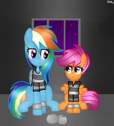 Size: 1800x2000   Tagged: safe, artist:kikirdcz, rainbow dash, scootaloo, ball and chain, bound wings, clothes, jail, prison, prison outfit, prison stripes, prisoner, prisoner rd, shackles