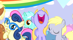 Size: 852x472 | Tagged: bon bon, bon bon is amused, cloud kicker, derpy hooves, filly, filly derpy, glasses, irrational exuberance, lyra heartstrings, meadow song, pinkie pride, safe, screencap, sweetie drops, twinkleshine, twisted bon bon, younger