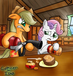 Size: 880x907 | Tagged: safe, artist:conicer, artist:jabbie64, derpibooru exclusive, applejack, sweetie belle, pony, applesauce, colored pupils, duo, fire extinguisher, food, kitchen, peanut butter, sandwich, scared, table, this will end in fire