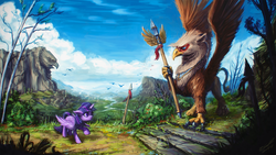 Size: 1920x1080 | Tagged: safe, artist:assasinmonkey, twilight sparkle, alicorn, griffon, pony, bush, cloud, cloudy, female, floppy ears, frown, holding, mare, mountain, nervous, raised hoof, river, scared, scenery, scenery porn, sky, spear, spread wings, stairs, standing, statue, tree, twilight sparkle (alicorn), wallpaper