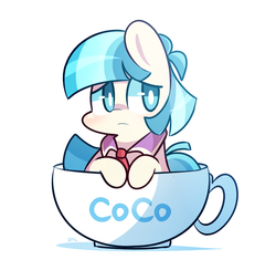 Size: 900x880 | Tagged: safe, artist:php56, coco pommel, earth pony, pony, rarity takes manehattan, chibi, cocobetes, cup of pony, cute, female, pun, simple background, solo, teacup, visual pun, white background
