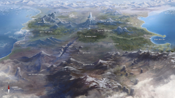 Size: 1920x1080 | Tagged: safe, artist:cmaggot, edit, beautiful, bird's eye view, equestria, map, map of equestria, realistic, scenery, scenery porn, topographical