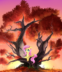 Size: 1743x2000 | Tagged: safe, artist:daughter-of-fantasy, fluttershy, pegasus, pony, autumn, crossed hooves, dead tree, female, prone, solo, tree