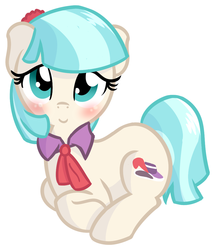 Size: 885x1028 | Tagged: safe, artist:furrgroup, coco pommel, rarity takes manehattan, blushing, looking at you, simple background, smiling, solo