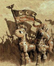 Size: 744x893   Tagged: safe, artist:graffegruam, oc, oc only, armor, new lunar republic, pastel