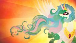 Size: 1920x1080 | Tagged: safe, artist:rariedash, princess celestia, alicorn, pony, female, horn, lineless, mare, solo, sunburst background, wings