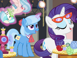 Size: 1200x910 | Tagged: safe, artist:pixelkitties, coco pommel, rarity, trixie, rarity takes manehattan, alternate hairstyle, bondage, disguise, glasses, mane swap, product placement, rarity's glasses, seems legit, starbucks, there's a spy around here, unsexy bondage, working