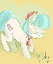 Size: 610x738 | Tagged: safe, artist:lilypaints, coco pommel, rarity takes manehattan, solo