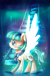 Size: 1000x1500 | Tagged: safe, artist:aquagalaxy, coco pommel, rarity takes manehattan, artificial wings, augmented, magic, magic wings, solo, wings