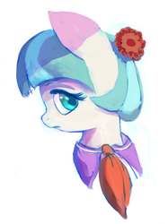 Size: 778x1041   Tagged: safe, artist:onomec, coco pommel, rarity takes manehattan, bust, profile, simple background, solo, white background