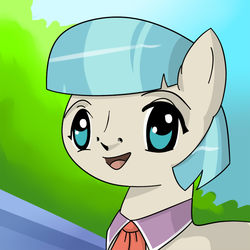 Size: 750x750   Tagged: artist needed, safe, coco pommel, anime, nightmare fuel, open mouth, parody, quality, smiling, solo, uguu