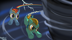 Size: 1920x1080 | Tagged: artist:hydrusbeta, flying, goggles, lightning dust, rainbow dash, safe, scene interpretation, storm, trail, wonderbolts academy