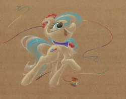 Size: 1045x820   Tagged: safe, artist:getchanoodlewet, coco pommel, rarity takes manehattan, rainbow thread, solo, thread, traditional art