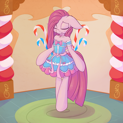 Size: 4000x4000 | Tagged: absurd res, artist:w300, bell, bipedal, blushing, candy, candy cane, choker, clothes, collar, cute, cuteamena, daaaaaaaaaaaw, dress, ear fluff, eyes closed, featured image, female, floppy ears, food, frilly dress, frilly pie, lolita fashion, mare, pinkamena diane pie, pinkie pie, pony, safe, semi-anthro, shoulder fluff, smiling, solo, sugarcube corner, sweet dreams fuel
