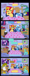 Size: 1050x2640 | Tagged: safe, artist:ficficponyfic, gilda, lightning dust, sunset shimmer, trixie, griffon, pegasus, pony, unicorn, alcohol, bed, beer, candle, comic, female, ficficponyfic you magnificent bastard, gildust, hangover, implying, lesbian, mare, morning after, pillow, shipping, suntrix