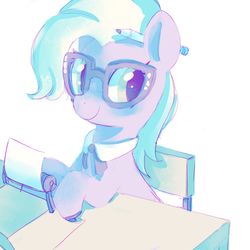 Size: 640x640 | Tagged: artist:mewball, glasses, grace manewitz, pencil, rarity takes manehattan, safe, solo, typewriter