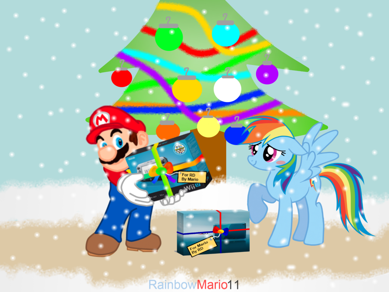 518875 - 3ds, artist:rainbowmario11, christmas, christmas tree ...