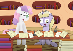 Size: 2150x1500 | Tagged: safe, artist:pvryohei, dinky hooves, sweetie belle, angry, book, derp, glasses, golden oaks library, library, post-crusade, shining bonds