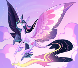 Size: 3500x3084 | Tagged: alicorn, artist:frogbians, classical unicorn, cloud, cloudy, cloven hooves, ethereal mane, female, flying, large wings, leonine tail, long horn, majestic, mare, older, pony, rainbow power, safe, solo, starry eyes, twilight sparkle, twilight sparkle (alicorn), unicorn, unshorn fetlocks, wingding eyes, wings