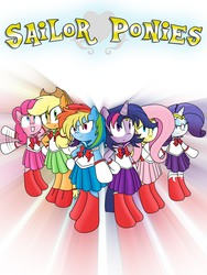 Size: 2400x3200 | Tagged: safe, artist:sailormod, applejack, fluttershy, pinkie pie, rainbow dash, rarity, twilight sparkle, asksailorponies, mane six, sailor generosity, sailor honesty, sailor kindness, sailor laughter, sailor loyalty, sailor magic, sailor moon, sailor ponies, sailor scout