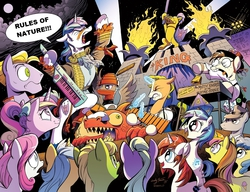 Size: 1280x985 | Tagged: safe, artist:andypriceart, edit, idw, 8-bit (character), buck withers, dj pon-3, gizmo, princess cadance, shining armor, sweetcream scoops, vinyl scratch, spoiler:comic, 8-bit, crowd, guitar, konami, metal gear, metal gear rising, rules of nature