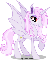 Size: 3173x3825 | Tagged: alicorn, alicornified, artist:vector-brony, bat ponified, bat pony, bat pony alicorn, bedroom eyes, cute, cute little fangs, fabulous, fangs, fleur-de-corne, fleur-de-lis, grin, looking at you, pony, race swap, raised hoof, raised leg, red eyes, safe, smiling, solo, vampony, winged unicorn