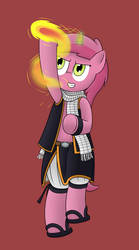 Size: 1350x2425 | Tagged: safe, artist:pvryohei, ruby pinch, clothes, crossover, fairy tail, fire, magic, natsu dragneel, pyromancy, scarf, solo