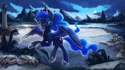 Size: 3200x1802   Tagged: safe, artist:r0b0tassassin, princess luna, alicorn, crab, pony, absurd resolution, bipedal, bipedal leaning, blue eyes, cloud, crown, ethereal mane, female, hoof shoes, jewelry, leaning, light, lighthouse, moon, mountain, mountain range, night, plant, regalia, rock, signature, solo, water, wings